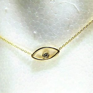 Marquise - Pendant with chain yellow gold 1,04gr. 585/14K Diamond/Brilliant, 1,5mm H/VS (KR2011)
